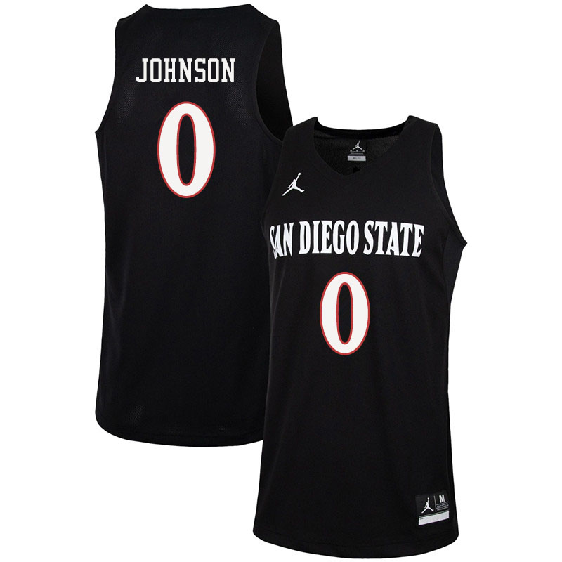 Jordan Brand Men #0 Keshad Johnson San Diego State Aztecs College Basketball Jerseys Sale-Black