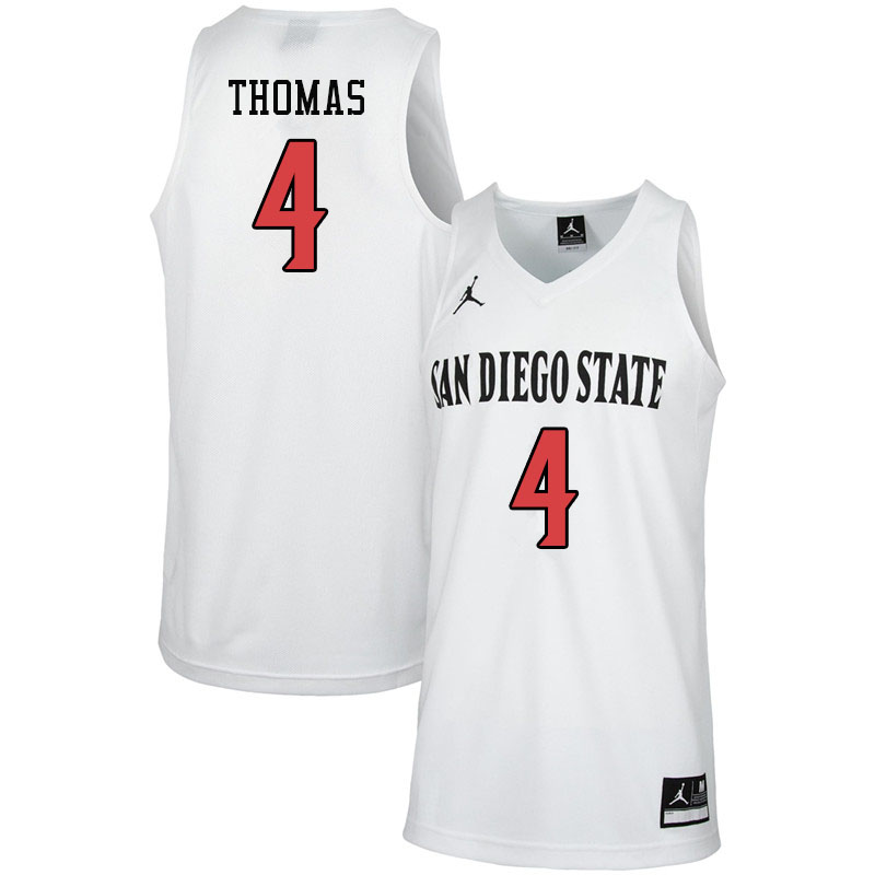 Jordan Brand Men #4 Malcolm Thomas San Diego State Aztecs College Basketball Jerseys-White