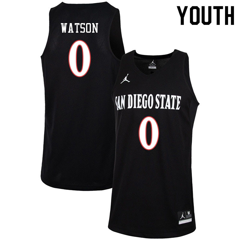 Jordan Brand Youth #0 Devin Watson San Diego State Aztecs College Basketball Jerseys-Black