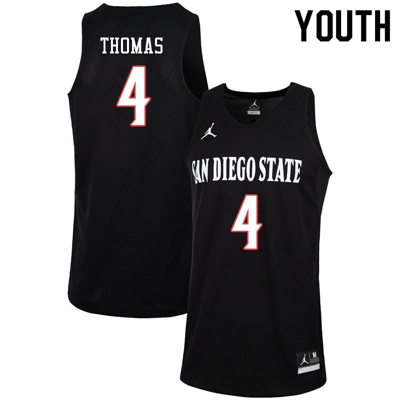 Jordan Brand Youth #4 Malcolm Thomas San Diego State Aztecs College Basketball Jerseys-Black