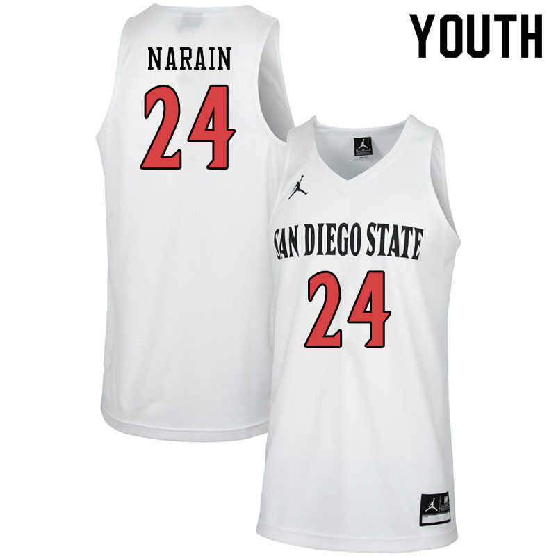 Jordan Brand Youth #24 Nolan Narain San Diego State Aztecs College Basketball Jerseys-White